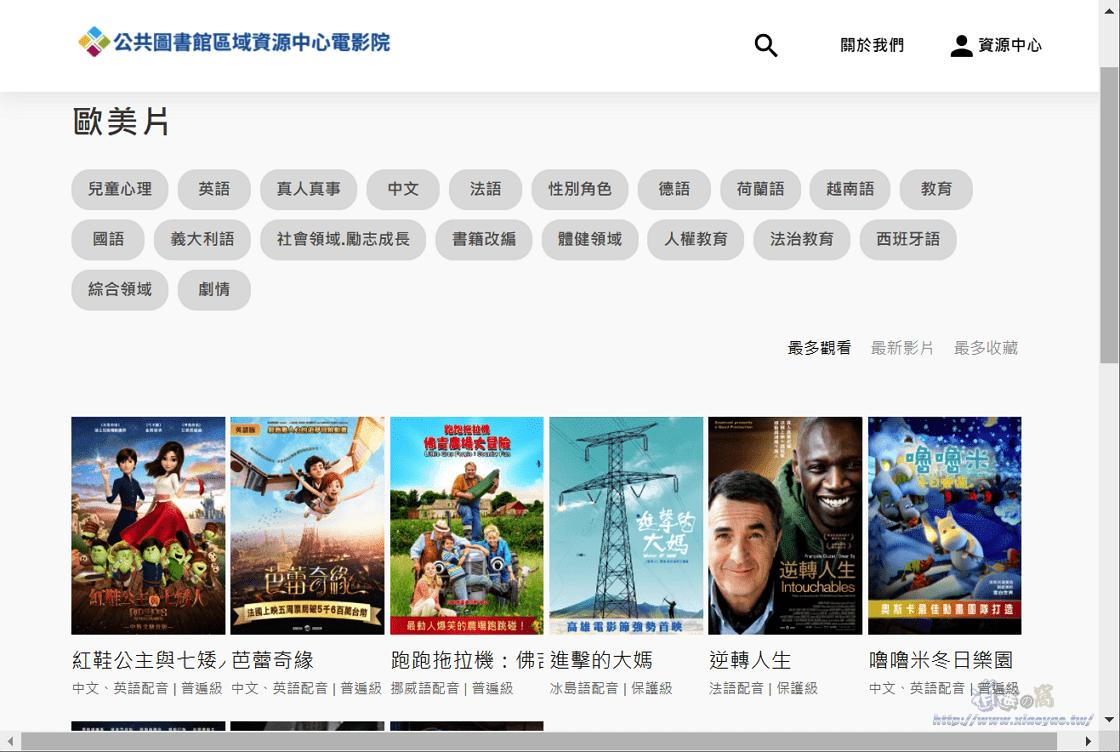 公共圖書館區域資源中心電影院登入借閱證,免費觀看上百部國內外電影、紀錄片、動畫片
