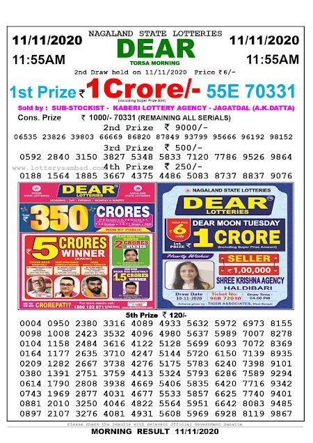 Lottery Sambad 11-11-2020 Today Results 11:55 am, Nagaland State Lottery Sambad Today Result 11.55 am, Sambad Lottery,Lottery Sambad Live Result Today