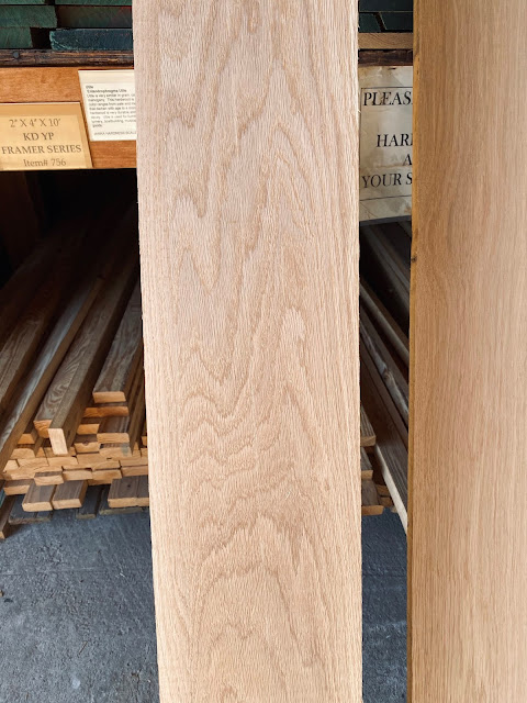 Close up of white oak for DIY shelves