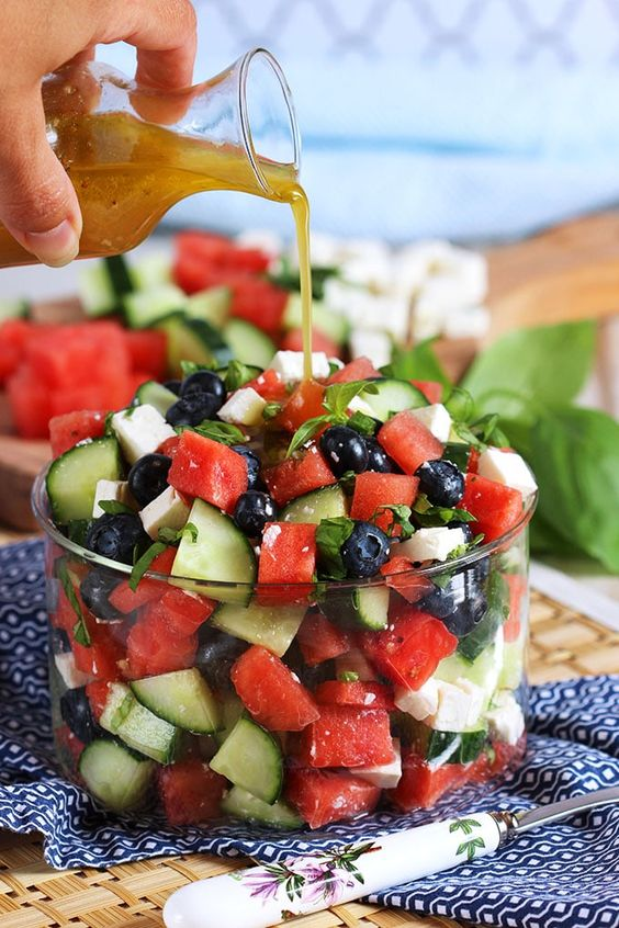 Ready in less than 10 minutes, this refreshing and easy Watermelon Blueberry Feta Salad with Cucumber is like summer in a bowl. Healthy and simple!