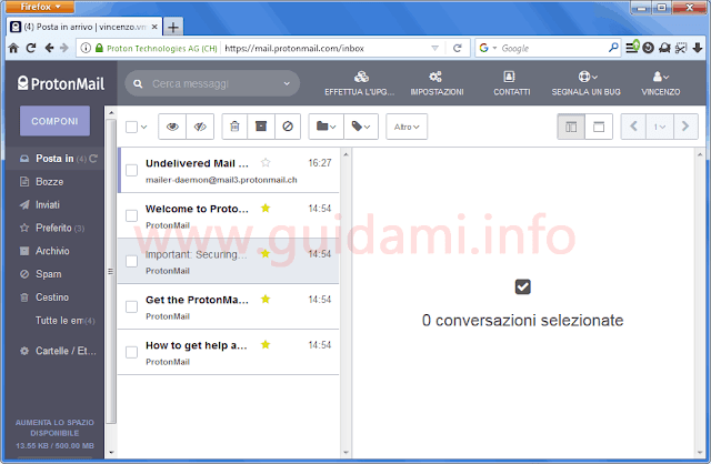 ProtonMail interfaccia client web