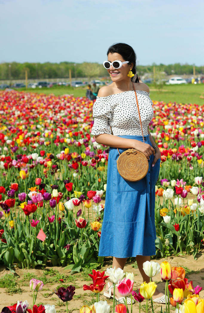 Who What Wear Birdcage Skirt Target, Holland Ridge Farms New Jersey, Tulip Festival New Jersey, Tulip Fields In New Jersey, Target Chambray Skirt, Woven Circle Straw Bag
