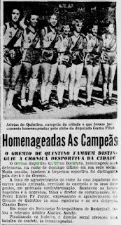 GE Quintino Bocayuva Campeão Estadual Feminino de Basquetebol de 1952