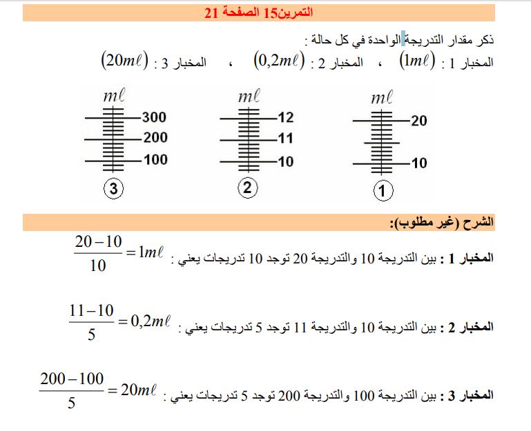 حل تمرين 15 صفحة 21 فيزياء للسنة الأولى متوسط الجيل الثاني