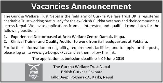 Vacancies at The Gurkha Welfare Trust Nepal