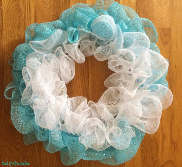 Make a pretty Deco Mesh Spring Wreath for just $8!