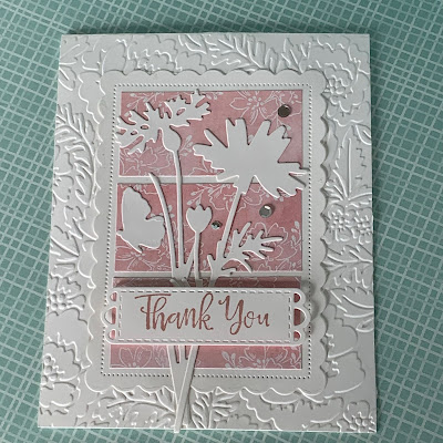 Floral Handmade Greeting card using Stampin' Up! Meadow Dies to create silhouette florals and a butterfly