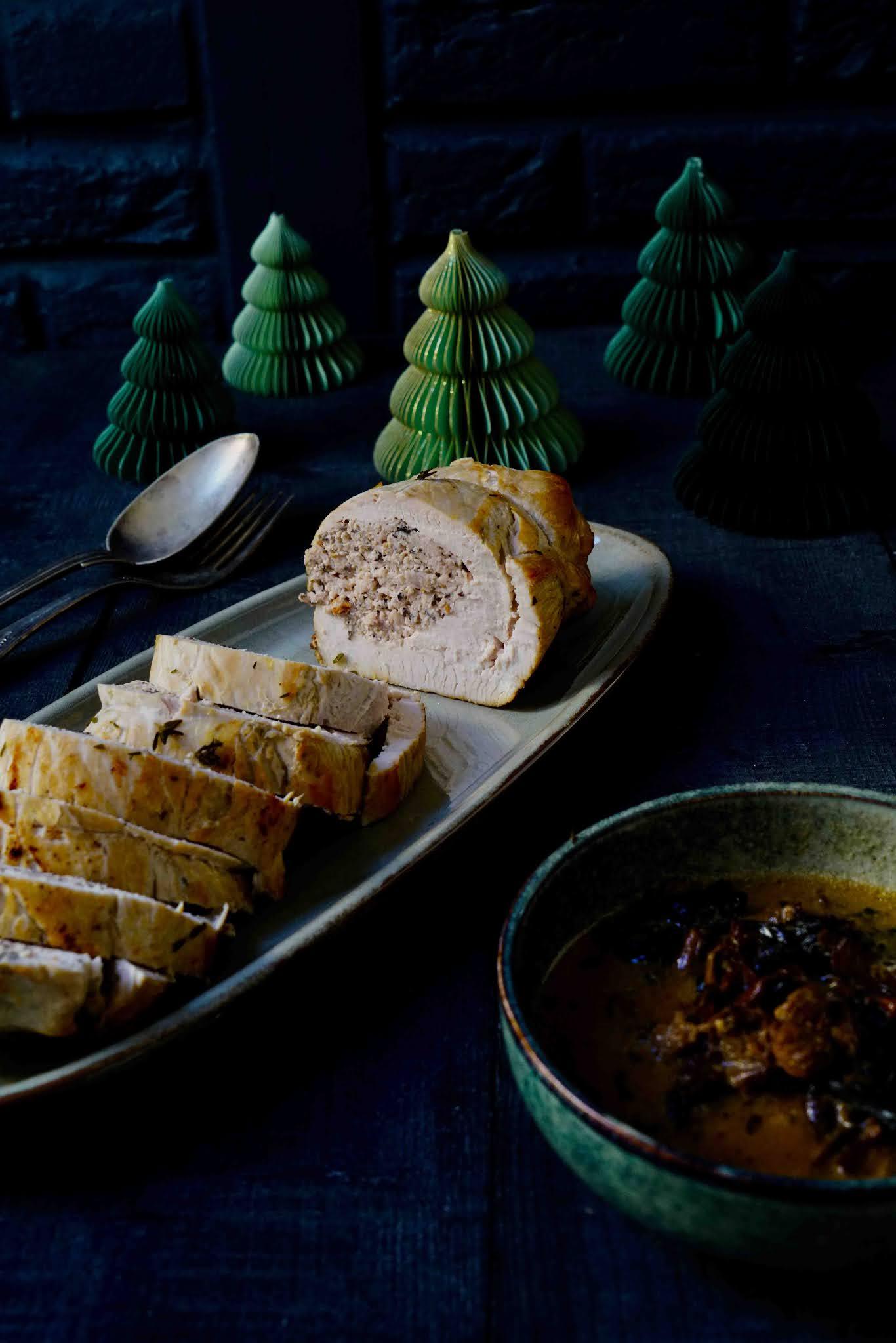 roti de dinde , plats festifs , champignons séchés