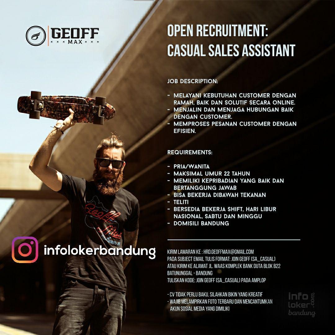 Lowongan Kerja Casual Sales Assistant Geoff Max Bandung Agustus 2017