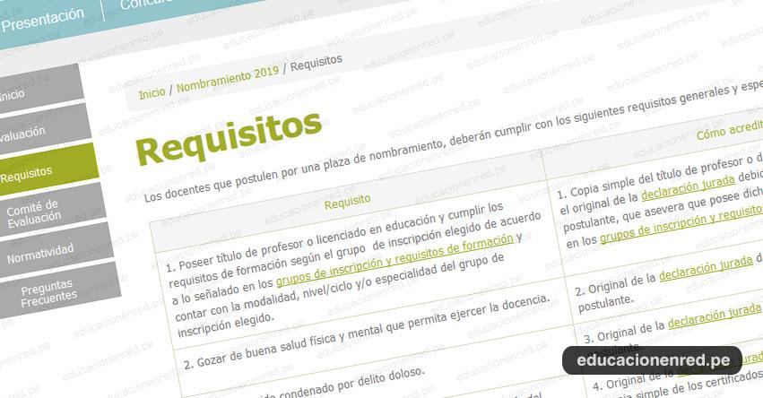 NOMBRAMIENTO DOCENTE 2019: Requisitos que deben cumplir los Postulantes - MINEDU - www.minedu.gob.pe