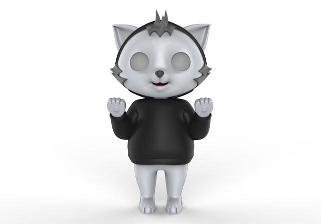 cat cartoon 3d model free download,obj,maya,low poly