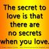 The secret to love is that there are no secrets when you love.