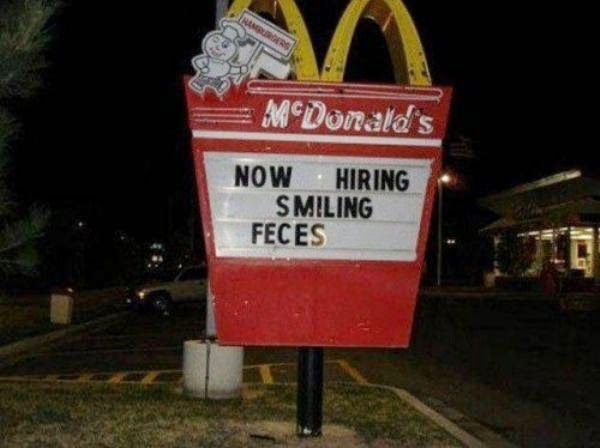 mcjobs sign for liberal arts graduates funny