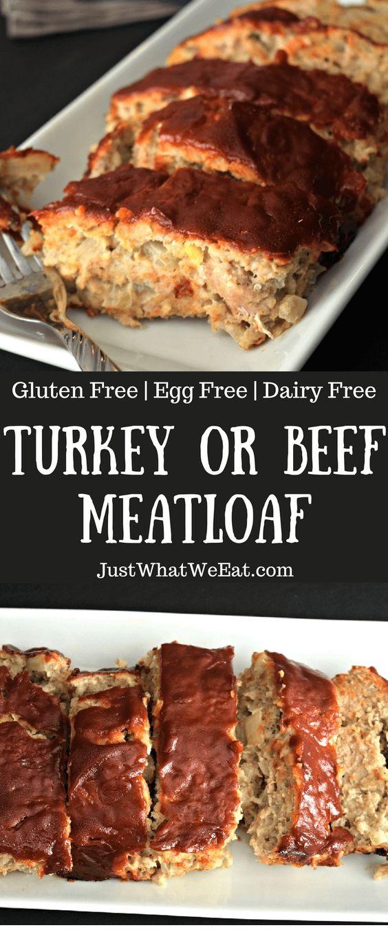 Turkey Or Beef Meatloaf – Gluten Free, Dairy Free, & Egg Free