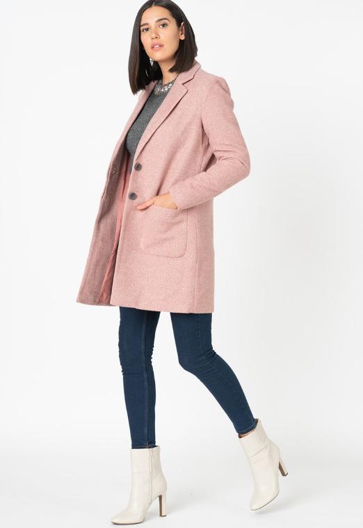 Palton dama casual-elegant roz pastelat cu revere decupate
