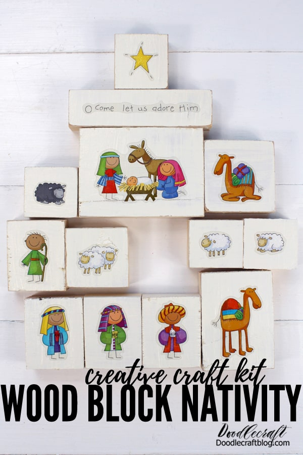 Make a darling Christmas Nativity set with wood blocks in this creative craft kit. These cute little Christmas nativity stickers have been a hit on my website since 2012. These cute stickers are not my art, but I love using them as the perfect Nativity sets for children. Tell the sweet story of Christmas easily with these hands-on blocks.