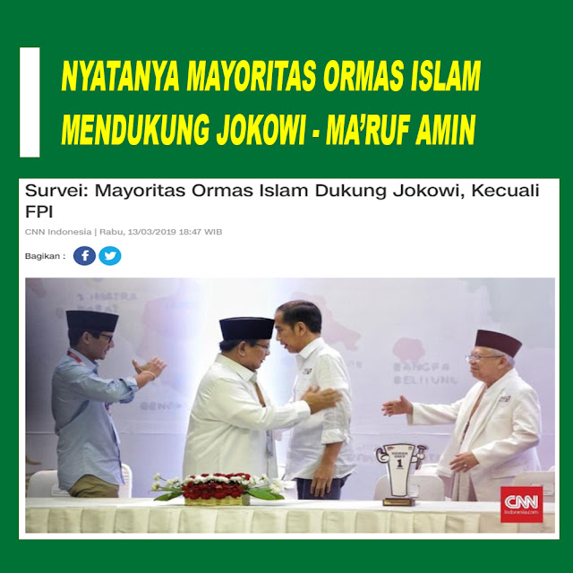 Survei: Mayoritas Ormas Islam Dukung Jokowi, Kecuali FPI