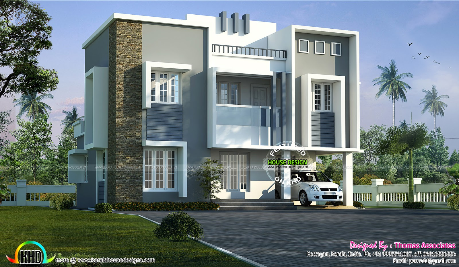 1600 sq ft sober color home kerala home design and floor for Modern house plans for 1600 sq ft