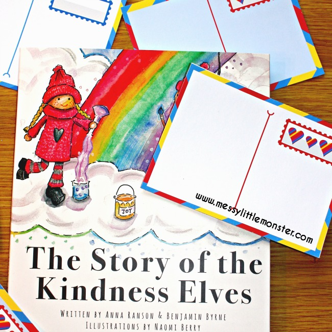 "FREE printable postcards for kids. A simple act of kindness inspired by the story ""The kindness elves"" An activity to encourage early writers and make someones day at the same time. A craft idea for mothers day or valentines day."