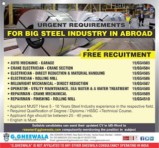 Free Recruitment for Big Steel Industry