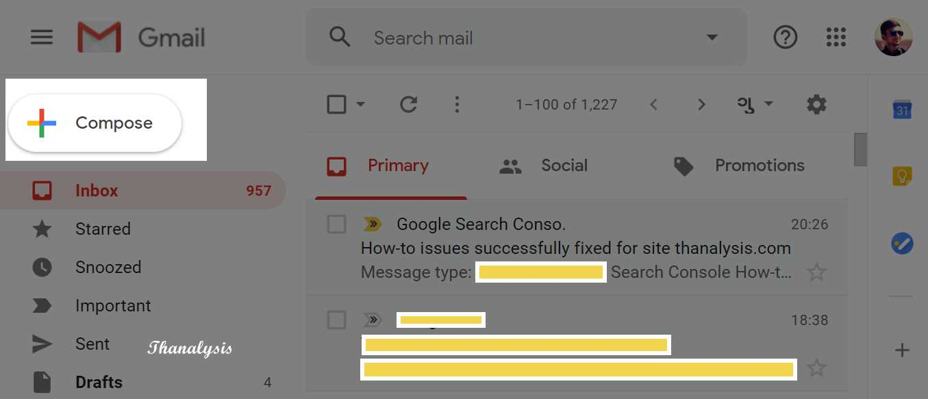 Compose button to create an email - Thanalysis