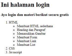 Cara Membuat List dengan Menggunakan HTML