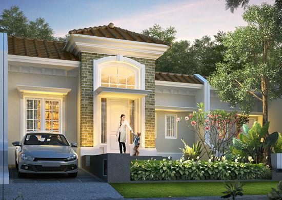 tampak depan rumah minimalis ukuran 10x18 meter 3 kamar tidur 1 lantai