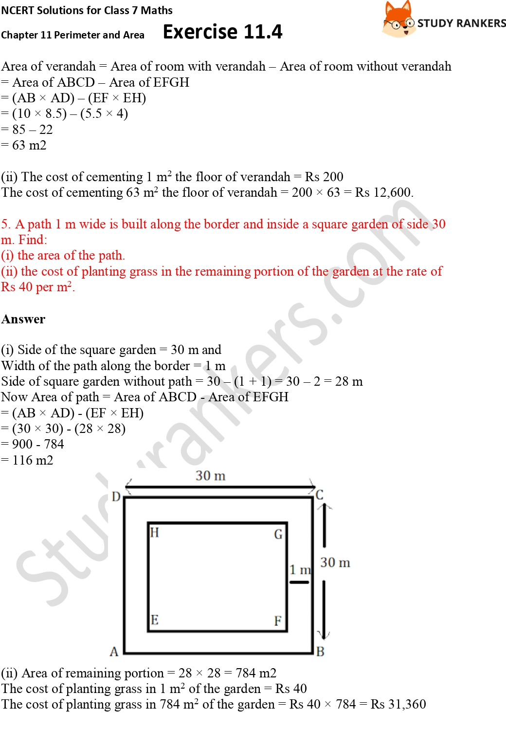 NCERT Solutions for Class 7 Maths Ch 11 Perimeter and Area Exercise 11.4 Part 3
