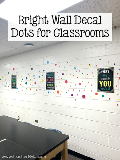 colorful dot theme classroom wall with wall decal circles