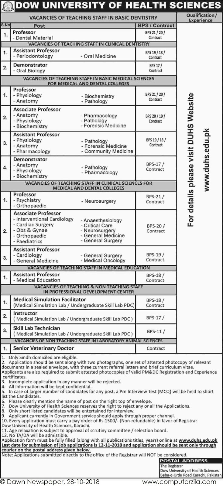 Job Opportunities at Dow University of Health Sciences
