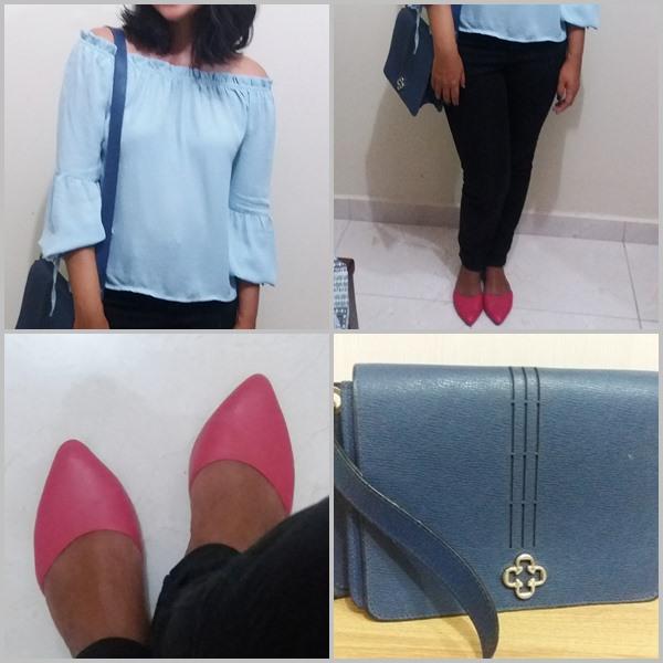 Look do dia: Blusa azul; calça preta; Sapatilha rosa choque; bolsa azul