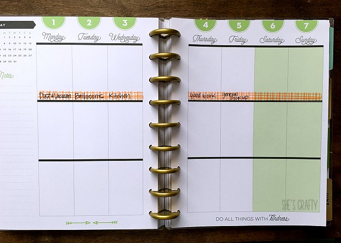 Keep track of cleaning schedule in planner