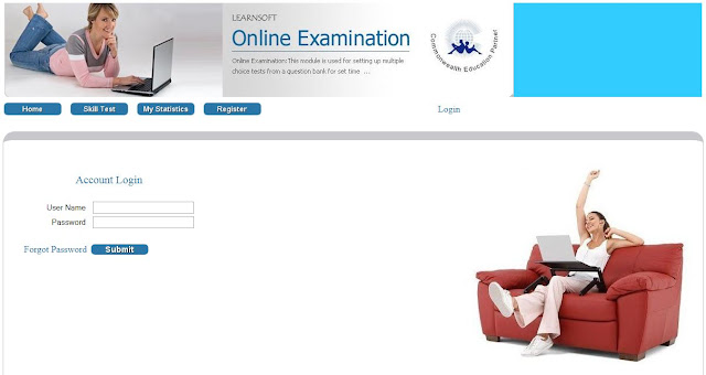Online exam home page