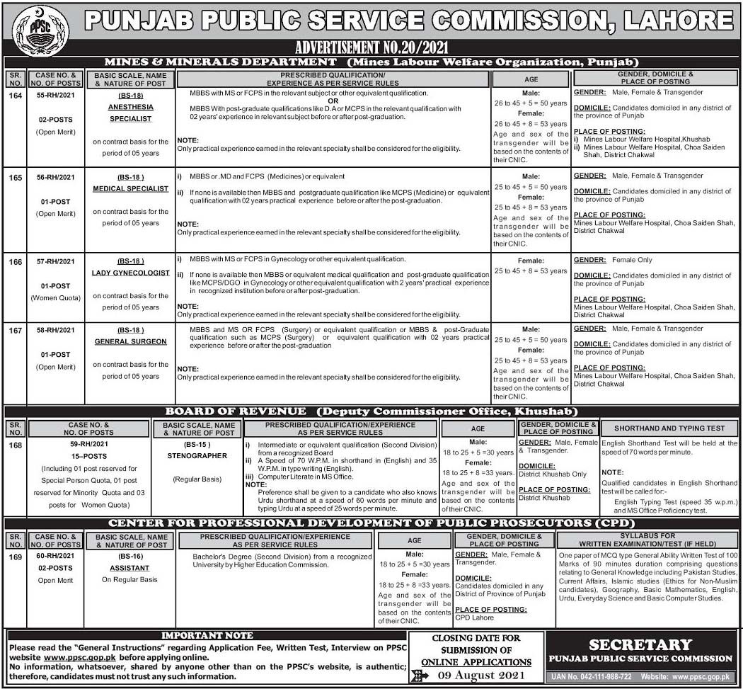 PPSC Jobs 2021 Advertisement No. 20 – Apply Online by means of ppsc.gop.pk