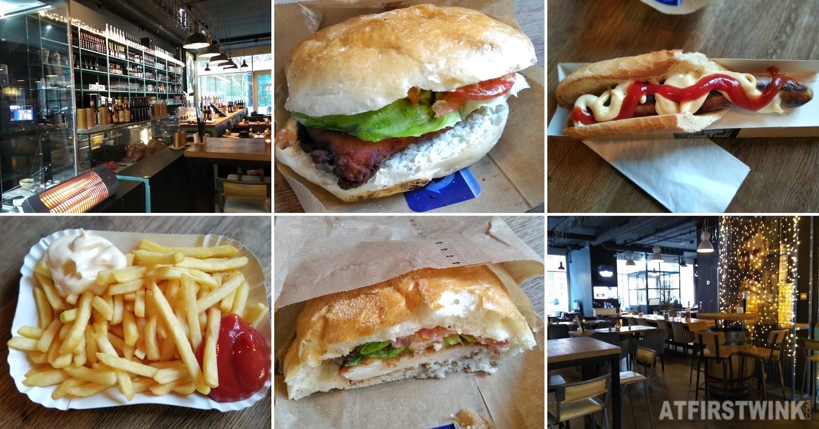 Die bierstube markthal Rotterdam schnitzel chicken sandwich french fries bratwurst hotdog