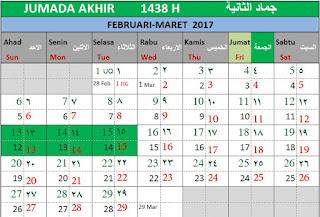 Bulan Jumada Akhir 1438 H Kalender Islam Bersatu