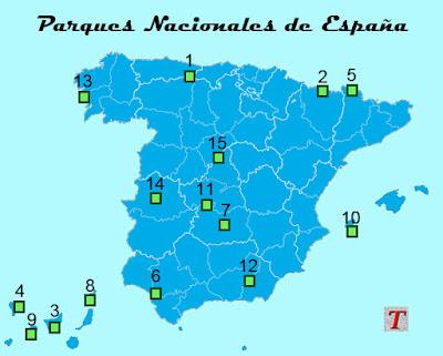 Mapa de los Parques Nacionales de España
