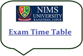 NIMS University Exam Date Sheet 2020