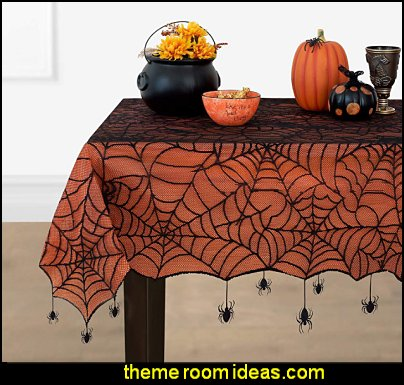 Halloween Spider Lace Lined Tablecloth halloween party supplies halloween decor