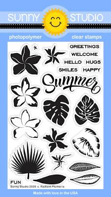 Sunny Studio Blog: Radiant Plumeria Tropical Flowers 4x6 Clear Photopolymer Stamp Set