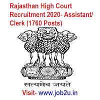 Rajasthan High Court Recruitment 2020, Assistant, Clerk