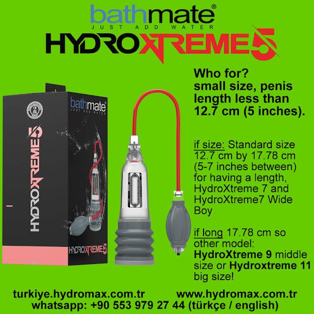 Bathmate HydroXtreme 5 size chart. Best penis pump from bathmate.