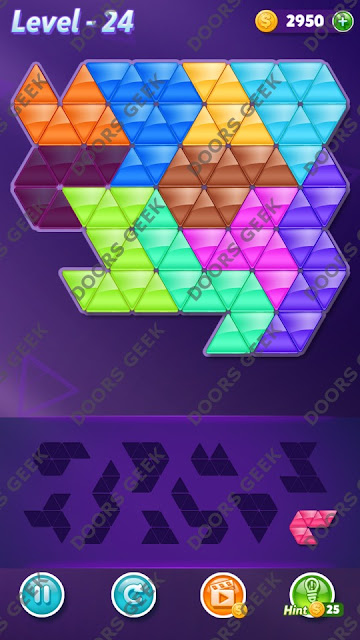 Block! Triangle Puzzle 10 Mania Level 24 Solution, Cheats, Walkthrough for Android, iPhone, iPad and iPod