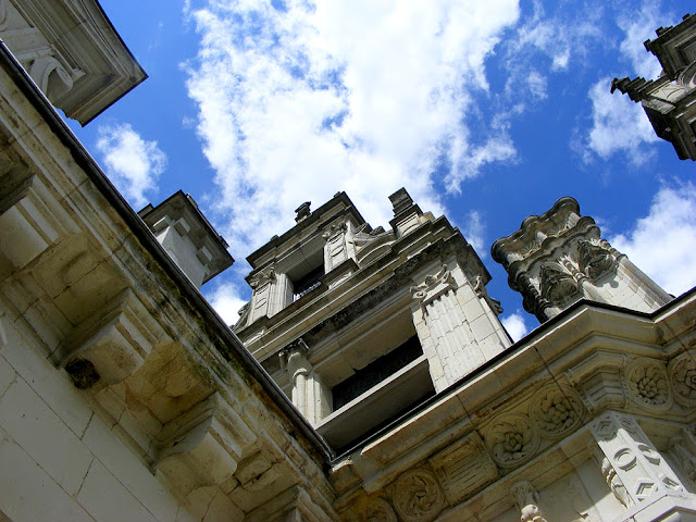 Looking up from the balcony at the junction of the original chateau of Chenonceau and the later bridge.  Indre et Loire, France. Photographed by Susan Walter. Tour the Loire Valley with a classic car and a private guide.
