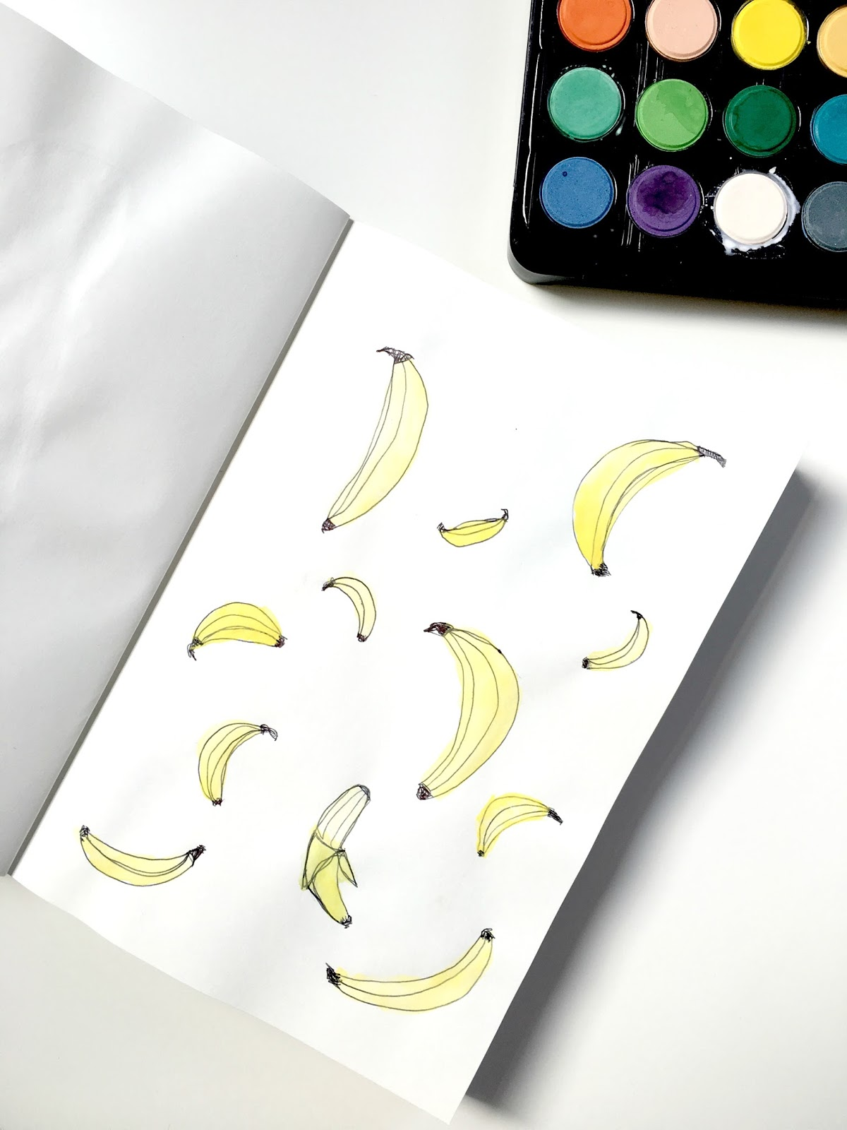 Sweet Allure I Decided To Start An Art Journal creative sketchs drawing watercolours painting doodles bananas fun hobby
