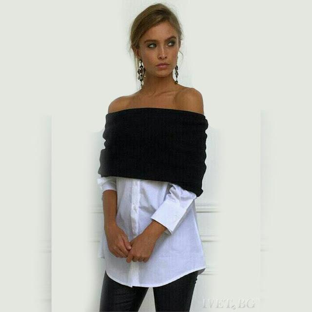 Μακρυμάνικη μαύρη - άσπρη γυναικεία μπλούζα DELINDA
