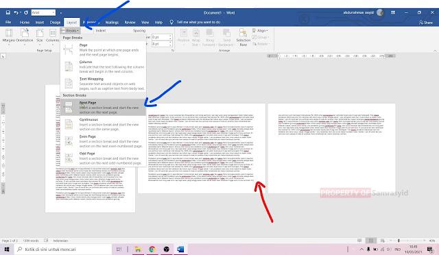 Cara Mengatur Landscape dan Potrait dalam satu file di Microsoft Word