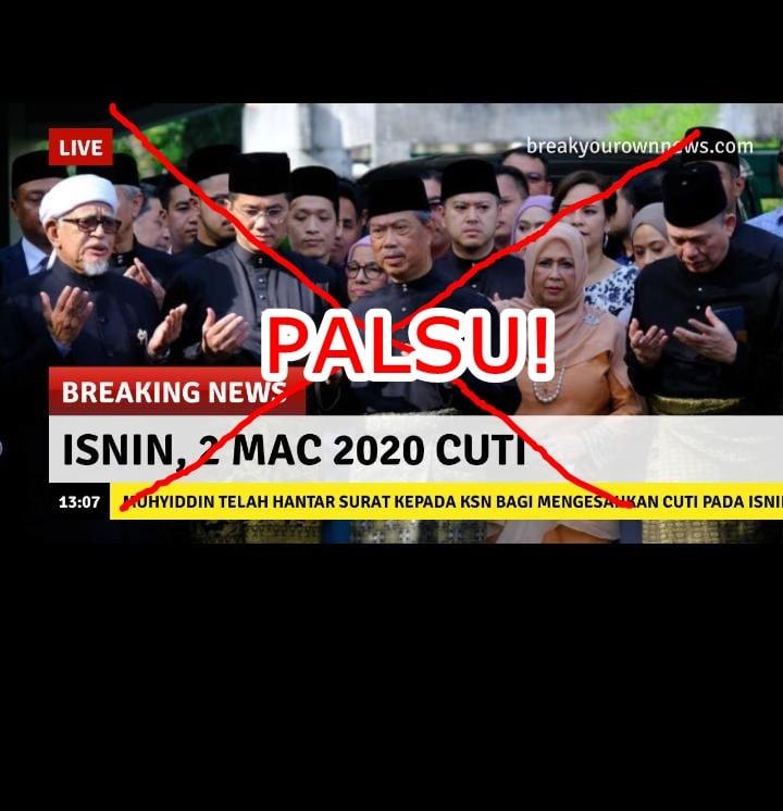 berita viral esok 2 mac 2020 cuti sah palsu