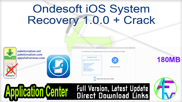 Ondesoft iOS System Recovery 1.0.0 + Crack