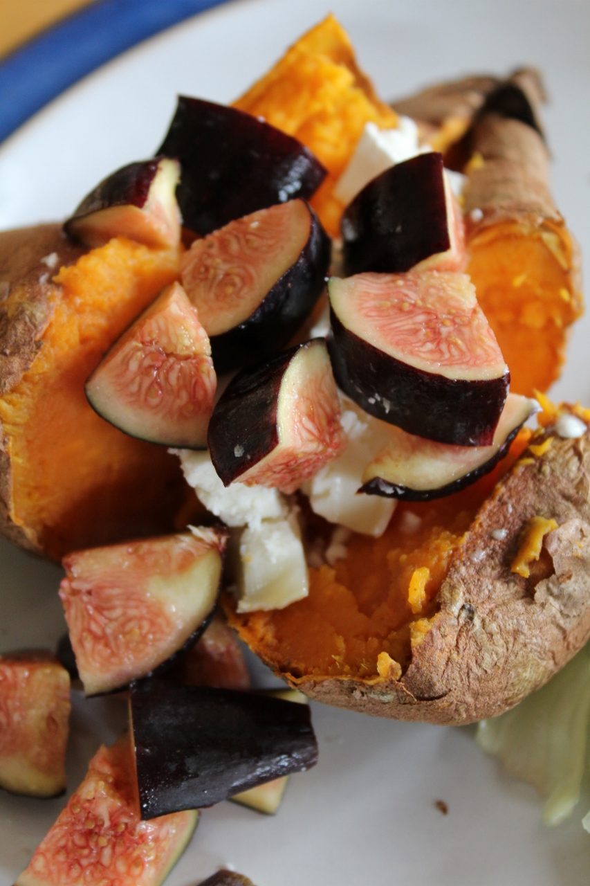 Baked Sweet Potato with Fig and Goat's Cheese
